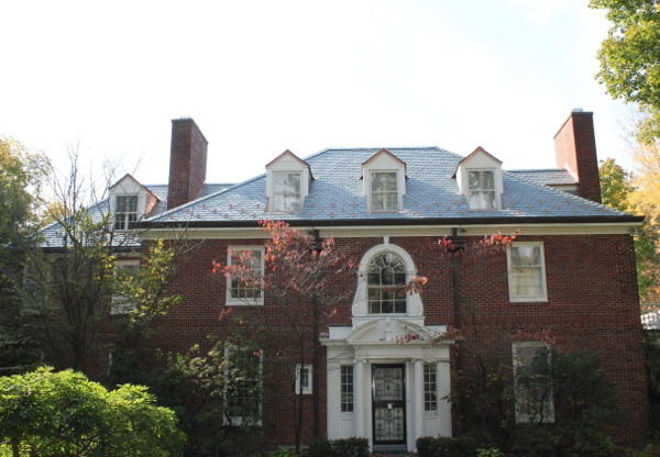 Cleveland brick residence with nonfading green slate roof