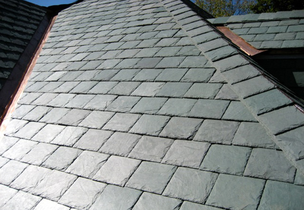 A closer view of the nonfading green genuine slate roof.