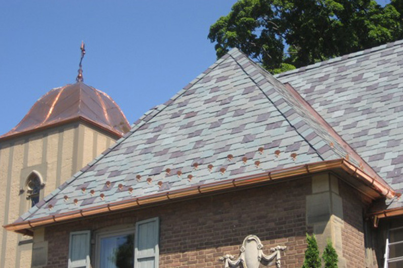 Copper is used for roof longevity.