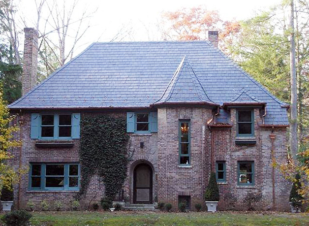 brick residence with Vermont black slate roof