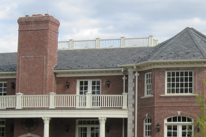 Close up of New Jersey Estate Slate Roof Blend of Gray