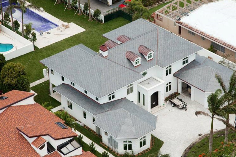 Slate roof on Miami residence and pool house